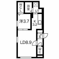 札幌市営東西線 発寒南駅 徒歩2分の賃貸マンション 1階1LDKの間取り