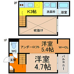 愛知県名古屋市西区香呑町4丁目の賃貸アパートの間取り