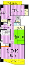 コスモ新松戸[5階]の間取り