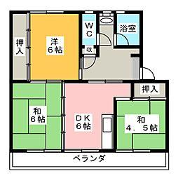 リバーサイドハイツ丸山B[4階]の間取り