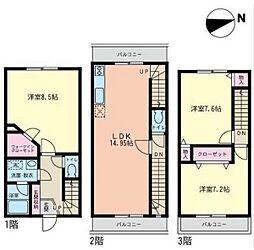 [テラスハウス] 神奈川県茅ヶ崎市萩園 の賃貸【/】の間取り