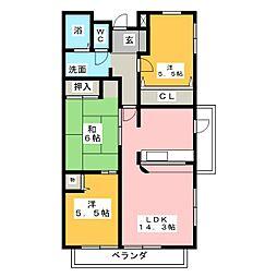 赤坂コーポ西棟[3階]の間取り