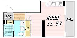 プランタン上新庄 2階ワンルームの間取り