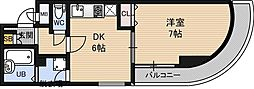 フォルム東三国 7階1DKの間取り