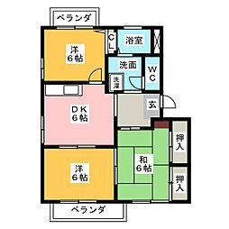 ガーデンハイツ四ッ池 D[2階]の間取り