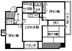 青風マンション[5階]の間取り