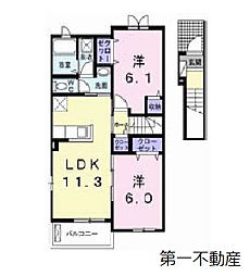兵庫県加東市下滝野の賃貸アパートの間取り