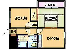 大阪府大阪市旭区高殿1丁目の賃貸マンションの間取り