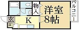 京都府京都市北区西賀茂丸川町の賃貸アパートの間取り