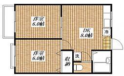 カギナカハイツ B棟[2階]の間取り