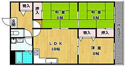 大阪府枚方市津田西町3丁目の賃貸マンションの間取り