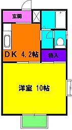 静岡県浜松市中区泉1丁目の賃貸アパートの間取り