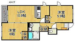 ベルラフレシールA棟[1階]の間取り