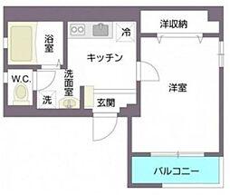 オリザ西新宿 3階1Kの間取り