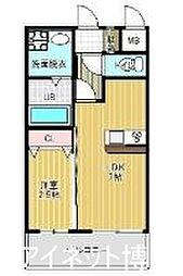 福岡市地下鉄箱崎線 貝塚駅 徒歩7分の賃貸マンション 1階1DKの間取り