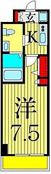 京成本線 お花茶屋駅 徒歩9分の賃貸マンション 12階1Kの間取り