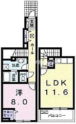 岡山県倉敷市青江丁目なしの賃貸アパートの間取り