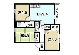 京都府相楽郡精華町桜が丘3丁目の賃貸アパートの間取り