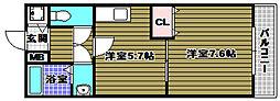 ラパス高倉台III番館 2階1DKの間取り