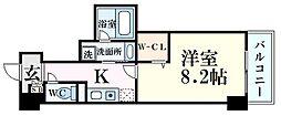 新芦屋ビル 8階1Kの間取り