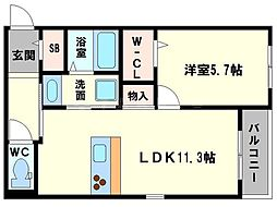 仮称 東淀川小松4丁目ヘーベルメゾン 3階1LDKの間取り