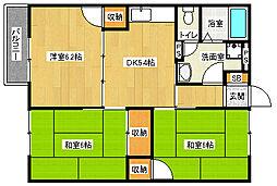 京都府京都市伏見区醍醐御陵東裏町の賃貸アパートの間取り