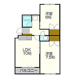 コンフォール新札幌[1階]の間取り