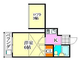クレール津田沼2[202号室]の間取り