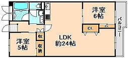 兵庫県伊丹市南町2丁目の賃貸マンションの間取り