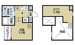 愛知県名古屋市中村区東宿町2の賃貸アパートの間取り