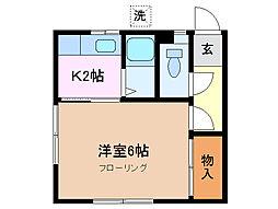 コーポ橋本 A棟[1階]の間取り