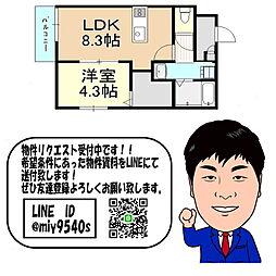 谷町線 大日駅 徒歩9分 1階1LDKの間取り