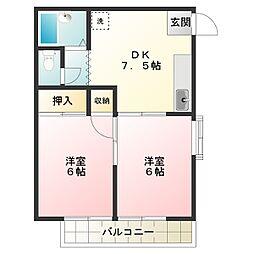 東京都調布市国領町6丁目の賃貸アパートの間取り