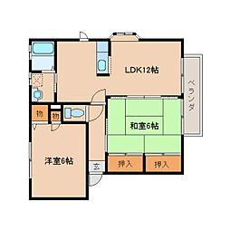 近鉄吉野線 壺阪山駅 徒歩10分の賃貸アパート 2階2LDKの間取り