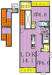 千葉県流山市西初石4丁目の賃貸アパートの間取り