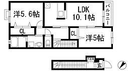 兵庫県宝塚市山本野里2丁目の賃貸アパートの間取り