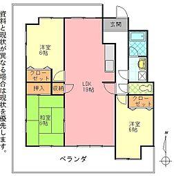 おかたマンション[401号室]の間取り