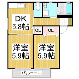 メゾン フィオーレA[2階]の間取り