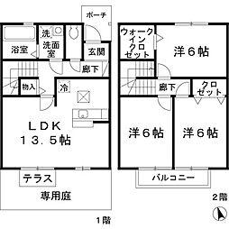 兵庫県姫路市田寺8丁目の賃貸アパートの間取り