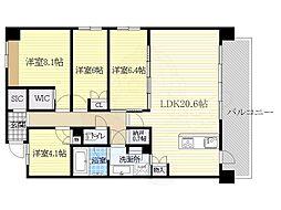 阪急千里線 南千里駅 バス12分 佐井寺北下車 徒歩6分の賃貸マンション 2階3SLDKの間取り