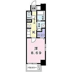 クラール上福岡 4階1Kの間取り
