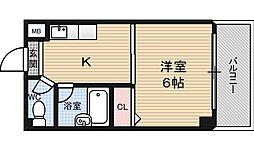 プレステージ堂島[4階]の間取り