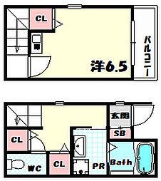 兵庫県神戸市中央区大日通5丁目の賃貸アパートの間取り