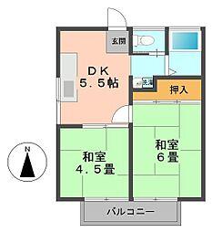 東京都江戸川区東松本2丁目の賃貸アパートの間取り