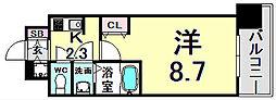 エスライズ新神戸II 7階1Kの間取り