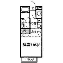 東京都町田市鶴川2丁目の賃貸アパートの間取り