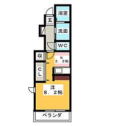 愛知県名古屋市天白区植田東3の賃貸アパートの間取り