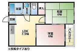 マンション藤2[1階]の間取り