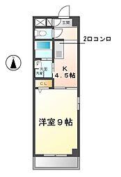愛知県清須市西枇杷島町古城2丁目の賃貸マンションの間取り