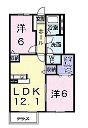 香川県高松市香川町浅野の賃貸アパートの間取り